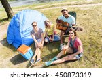 joyful guys and girls relaxing... | Shutterstock . vector #450873319