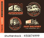 set of four logo with truck and ...