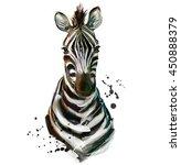 watercolor zebra  | Shutterstock . vector #450888379