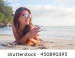 smiling long haired girl in...   Shutterstock . vector #450890395