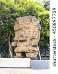 Small photo of MEXICO CITY, MEXICO - CIRCA JULY 2016 - Tlaloc aztec god of rain monolite at the anthropology and history museum at Chapultepec park