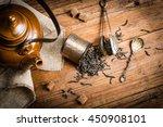 Top View Of Tea Concept  Black...