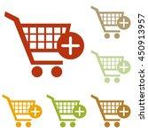 shopping cart with add mark...   Shutterstock . vector #450913957