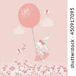 rabbit girl with balloon hand... | Shutterstock .eps vector #450917095