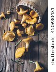 chanterelles on vintage wooden... | Shutterstock . vector #450930481