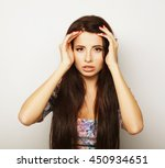 beautiful brunette female in... | Shutterstock . vector #450934651