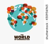 world map with colorful speech...   Shutterstock .eps vector #450956965