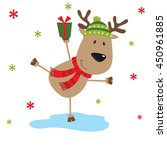christmas card with reindeer... | Shutterstock .eps vector #450961885