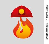 firefighter job with fire icon  ... | Shutterstock .eps vector #450963859