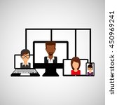 working on computer teamwork... | Shutterstock .eps vector #450969241