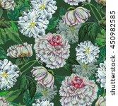 seamless pattern white dahlia...   Shutterstock . vector #450982585