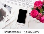 smartphone  computer keyboard... | Shutterstock . vector #451022899