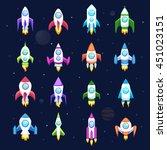 rocket set vector and... | Shutterstock .eps vector #451023151