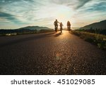 cyclists family traveling on... | Shutterstock . vector #451029085