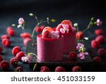 raspberry mousse cakes with... | Shutterstock . vector #451033159