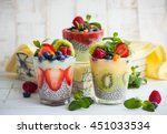 layered berry and chia seeds... | Shutterstock . vector #451033534