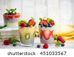 layered berry and chia seeds... | Shutterstock . vector #451033567