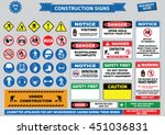set of construction sign ... | Shutterstock .eps vector #451036831