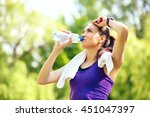 recreation of young sporty... | Shutterstock . vector #451047397