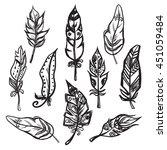 set of ethnic feathers vector...   Shutterstock .eps vector #451059484