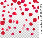 Stock vector abstract background with flying red rose petals on a white transparent background vector 451071229