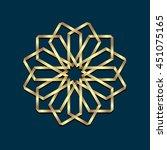 islamic 3d golden origami round ... | Shutterstock .eps vector #451075165