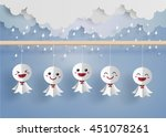 origami made japanese doll... | Shutterstock .eps vector #451078261