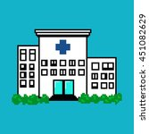 the hospital in pixel art style ... | Shutterstock .eps vector #451082629