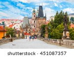 prague   charles bridge  tower  ... | Shutterstock . vector #451087357