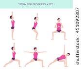 vector set of basic yoga asanas ... | Shutterstock .eps vector #451092307
