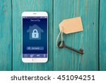 smartphone with smart home... | Shutterstock . vector #451094251