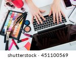 fashion blogger working at... | Shutterstock . vector #451100569