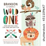 Stock vector kids birthday party invitation card with cartoon tribal animals 451109647