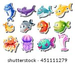 sticker set of sharks and fish... | Shutterstock .eps vector #451111279