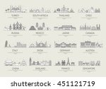 country thin line icons travel... | Shutterstock .eps vector #451121719