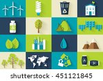 set of ecology flat icons... | Shutterstock .eps vector #451121845