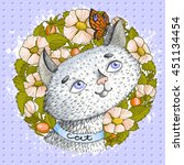 cute cat with butterfly on... | Shutterstock .eps vector #451134454