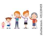 different stages of a woman's... | Shutterstock .eps vector #451139455