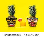 two fun fashion pineapples with ... | Shutterstock . vector #451140154