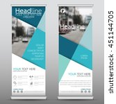 blue roll up business banner... | Shutterstock .eps vector #451144705