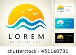 waves and sun logo vector | Shutterstock .eps vector #451160731