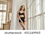 beautiful sexy lady in elegant...   Shutterstock . vector #451169965