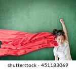 superhero asian school girl kid ... | Shutterstock . vector #451183069