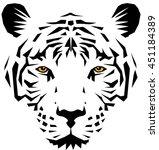 white tiger head  vector...