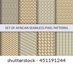 collection of pixel seamless... | Shutterstock .eps vector #451191244