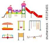 children playground with swings.... | Shutterstock .eps vector #451191601