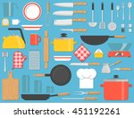 kitchen tools set. kitchenware... | Shutterstock .eps vector #451192261