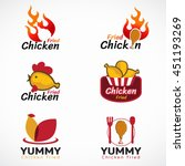 chicken fried and fire logo... | Shutterstock .eps vector #451193269