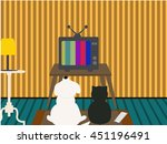 dog and cat watching tv | Shutterstock .eps vector #451196491