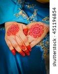 bride henna carved beautiful... | Shutterstock . vector #451196854